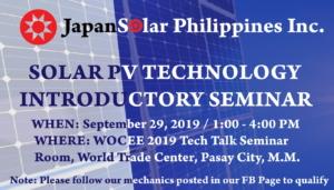 SOLAR PV Technology Introductory Seminar @ WOCEE 2019 Tech Talk Seminar Room, World Trade Center, Pasay City, Metro Manila